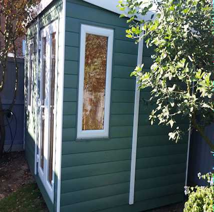 garden office with upvc double glazing