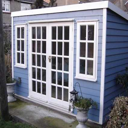 pent garden room with georgian doors & windows